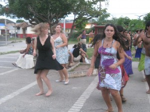 Me learning Maracatu un Florianopolis. There are many rehearsals leading up to Carnaval.